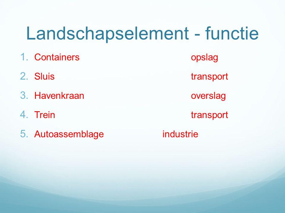 Landschapselement - functie 1. Containersopslag 2. Sluistransport 3. Havenkraanoverslag 4. Treintransport 5. Autoassemblageindustrie