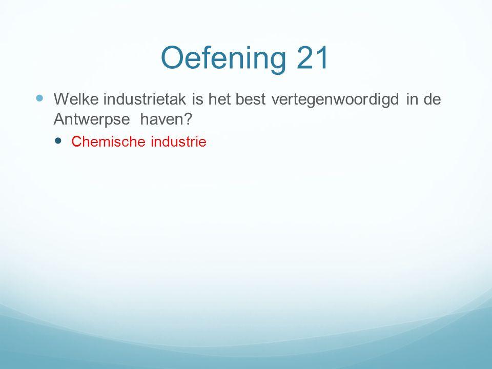 Oefening 21 Welke industrietak is het best vertegenwoordigd in de Antwerpse haven? Chemische industrie