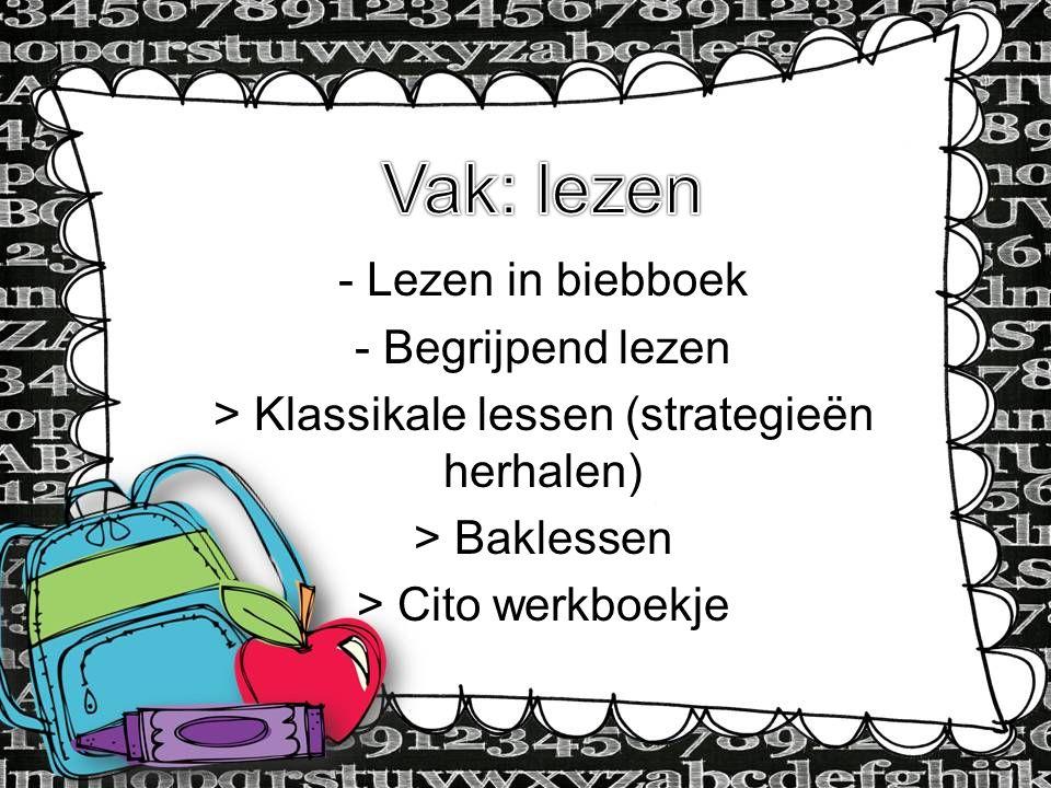 Type Information here - Lezen in biebboek - Begrijpend lezen > Klassikale lessen (strategieën herhalen) > Baklessen > Cito werkboekje