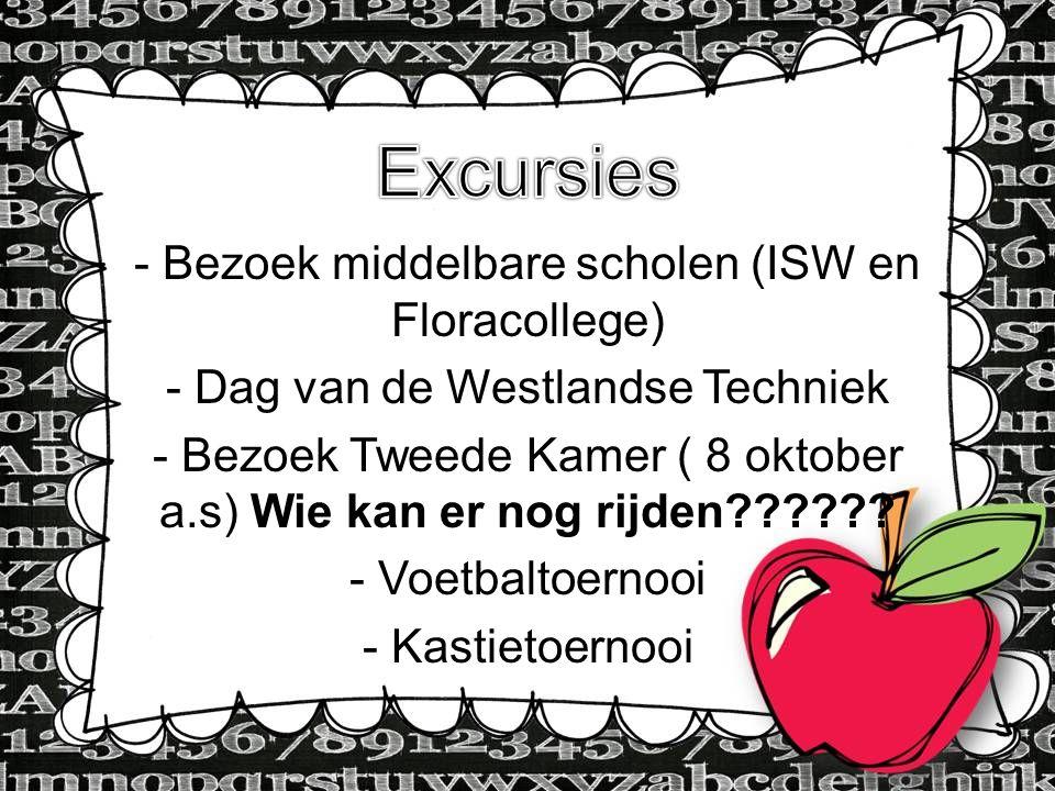 - Bezoek middelbare scholen (ISW en Floracollege) - Dag van de Westlandse Techniek - Bezoek Tweede Kamer ( 8 oktober a.s) Wie kan er nog rijden??????