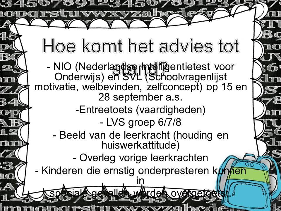 - NIO (Nederlandse Intelligentietest voor Onderwijs) en SVL (Schoolvragenlijst motivatie, welbevinden, zelfconcept) op 15 en 28 september a.s. -Entree