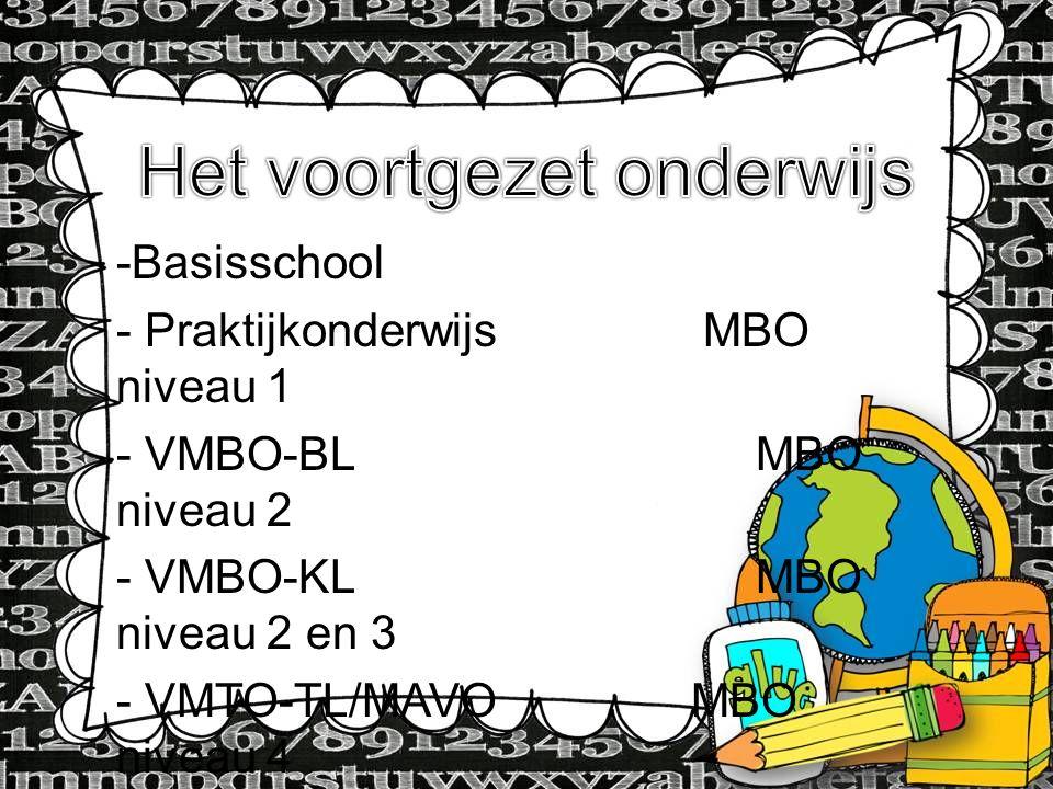 -Basisschool - Praktijkonderwijs MBO niveau 1 - VMBO-BL MBO niveau 2 - VMBO-KL MBO niveau 2 en 3 - VMTO-TL/MAVO MBO niveau 4 - HAVO HBO - VWO WO