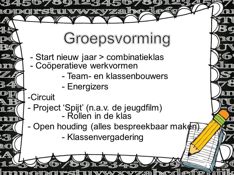 - Start nieuw jaar > combinatieklas - Coöperatieve werkvormen - Team- en klassenbouwers - Energizers -Circuit - Project 'Spijt' (n.a.v. de jeugdfilm)