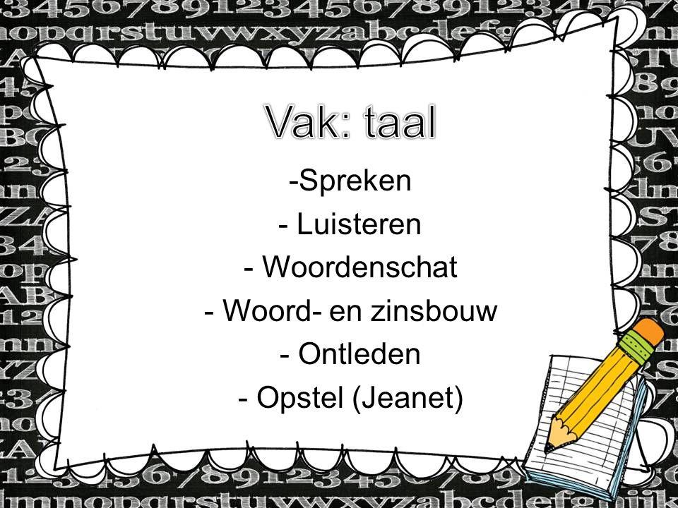 Type Information here -Spreken - Luisteren - Woordenschat - Woord- en zinsbouw - Ontleden - Opstel (Jeanet)