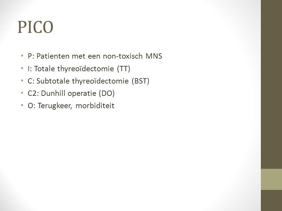PICO P: Patienten met een non-toxisch MNS I: Totale thyreoïdectomie (TT) C: Subtotale thyreoïdectomie (BST) C2: Dunhill operatie (DO) O: Terugkeer, mo