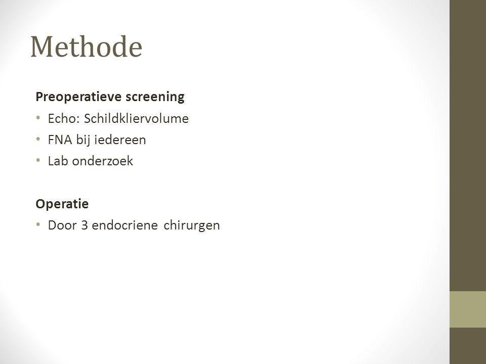 Methode Preoperatieve screening Echo: Schildkliervolume FNA bij iedereen Lab onderzoek Operatie Door 3 endocriene chirurgen