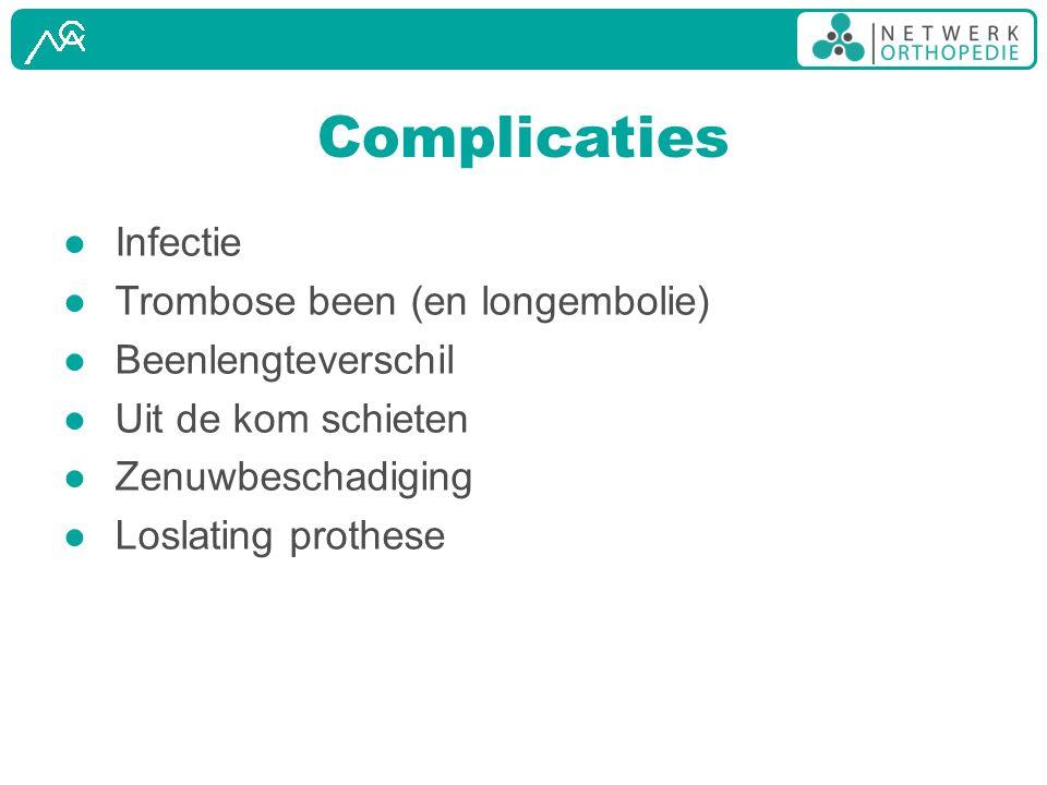Complicaties ● Infectie ● Trombose been (en longembolie) ● Beenlengteverschil ● Uit de kom schieten ● Zenuwbeschadiging ● Loslating prothese