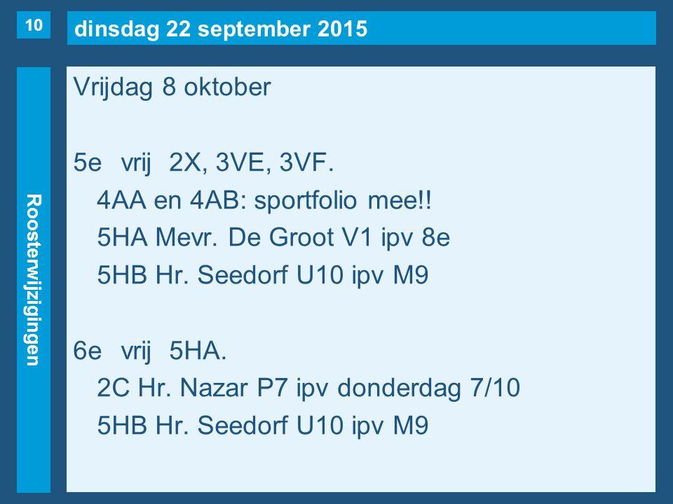 dinsdag 22 september 2015 Roosterwijzigingen Vrijdag 8 oktober 5evrij2X, 3VE, 3VF.