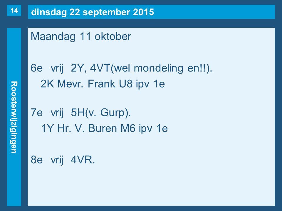 dinsdag 22 september 2015 Roosterwijzigingen Maandag 11 oktober 6evrij2Y, 4VT(wel mondeling en!!).