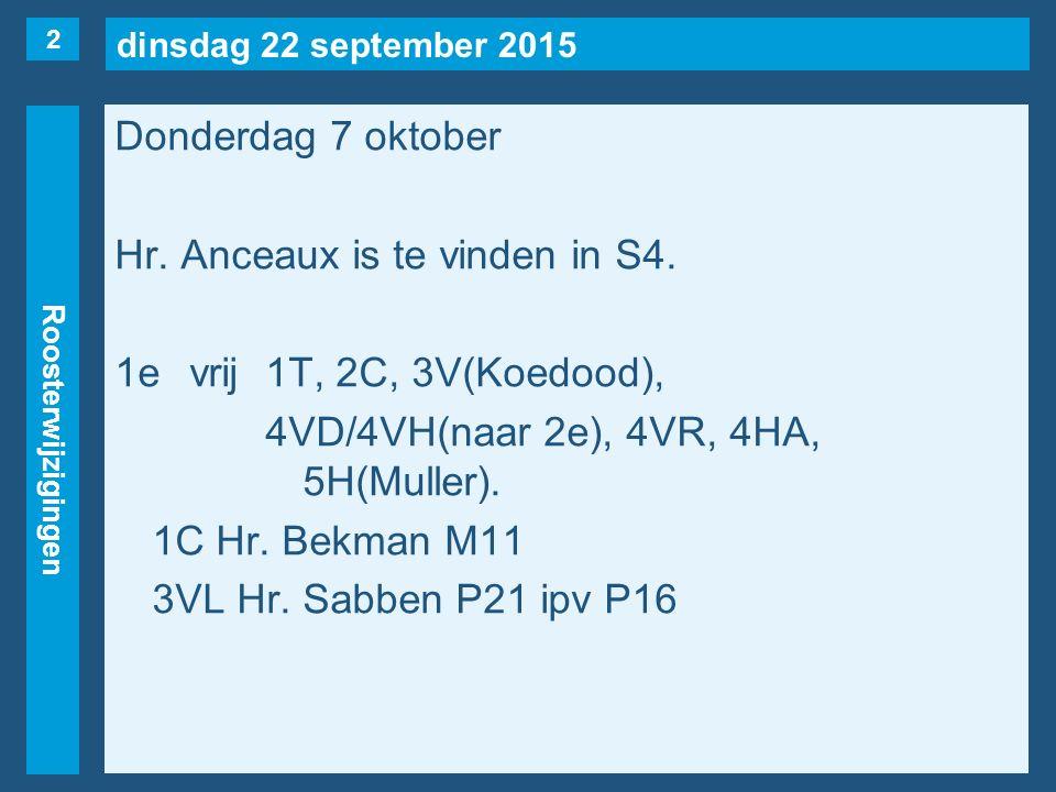 dinsdag 22 september 2015 Roosterwijzigingen Donderdag 7 oktober 2evrij2C(naar vrijdag 8/10, 6e uur), 2S, 3V(Koedood), 4VE, 4VS, 4HA, 5H(Muller).