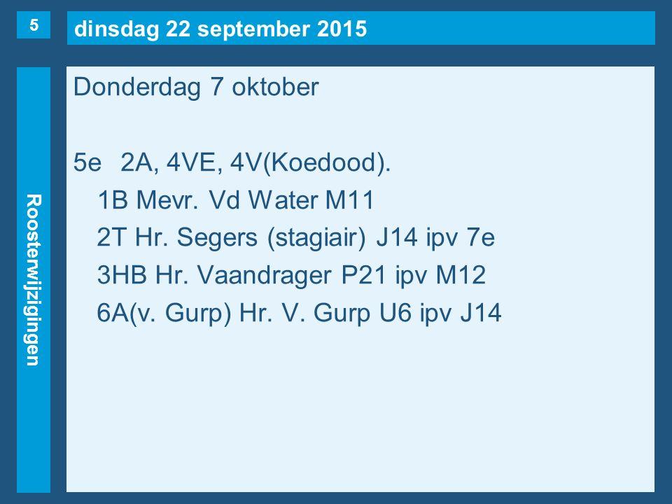dinsdag 22 september 2015 Roosterwijzigingen Donderdag 7 oktober 6evrij1C, 2T, 4VT.