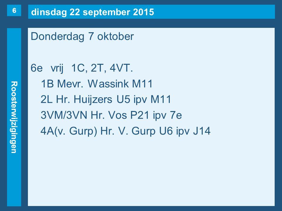 dinsdag 22 september 2015 Roosterwijzigingen Donderdag 7 oktober 7evrij2T(naar 5e), 2Y(naar 3e), 3VK, 3VN(naar 6e), 4VR.