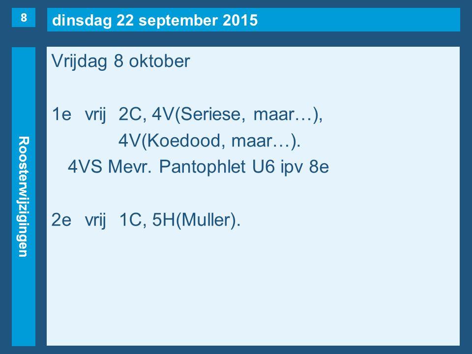 dinsdag 22 september 2015 Roosterwijzigingen Vrijdag 8 oktober 1evrij2C, 4V(Seriese, maar…), 4V(Koedood, maar…).