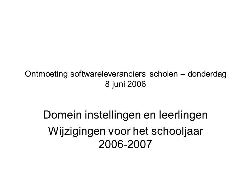 Ontmoeting softwareleveranciers scholen – donderdag 8 juni 2006 Domein instellingen en leerlingen Wijzigingen voor het schooljaar 2006-2007