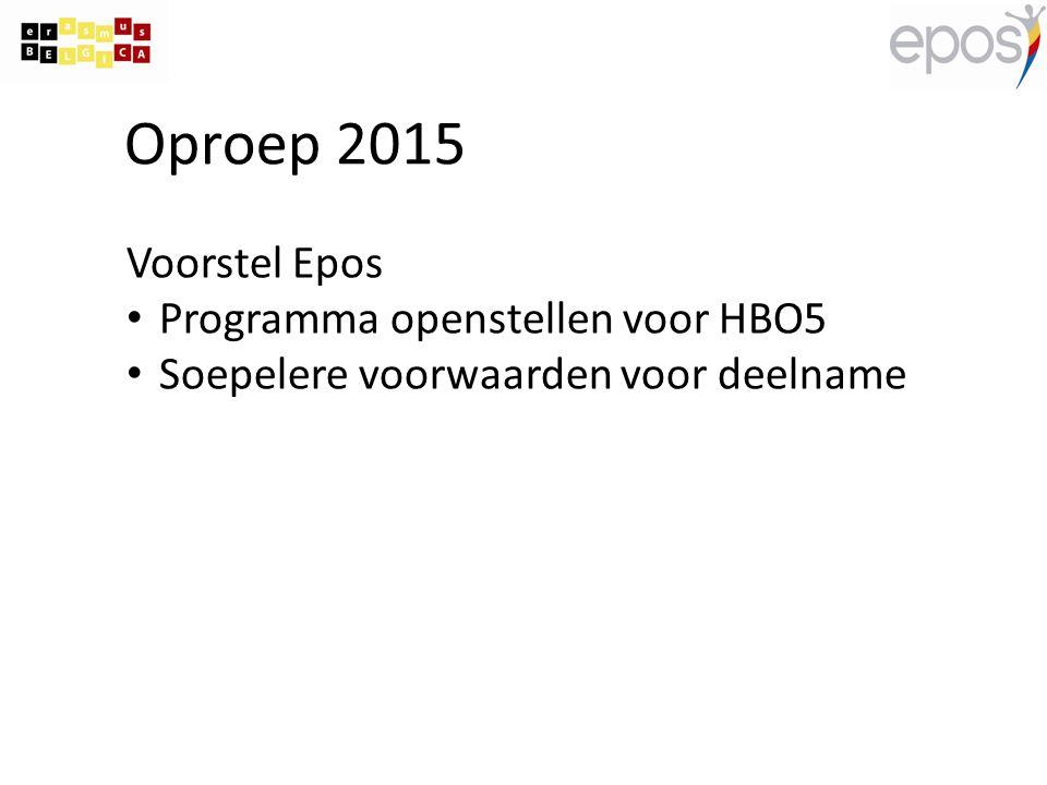 Oproep 2015 Voorstel Epos Programma openstellen voor HBO5 Soepelere voorwaarden voor deelname