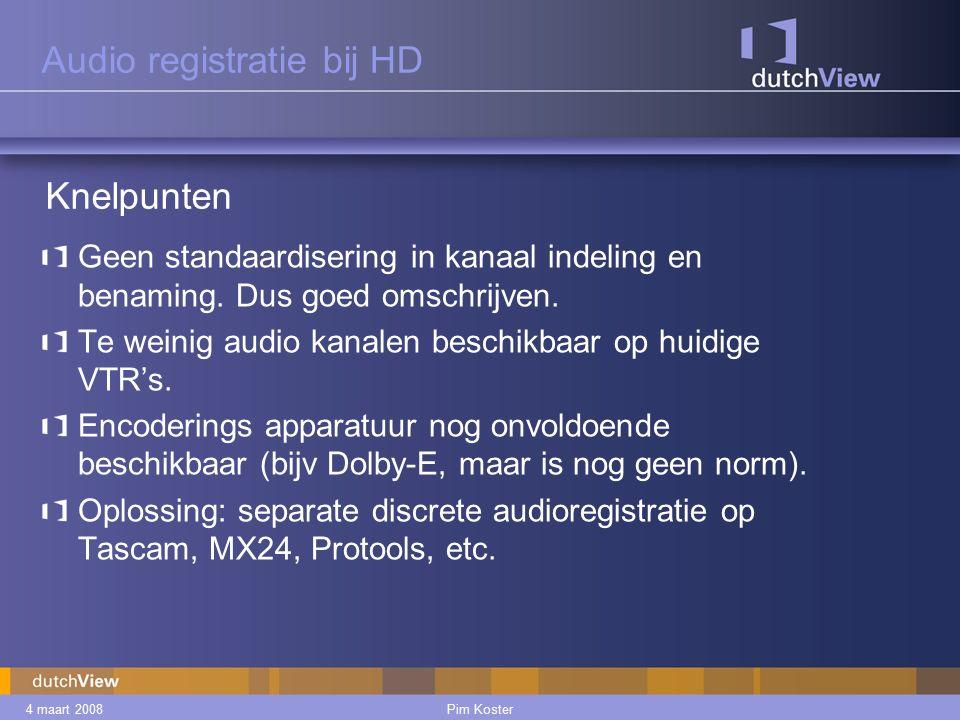 4 maart 2008Pim Koster Audio registratie bij HD Geen standaardisering in kanaal indeling en benaming.