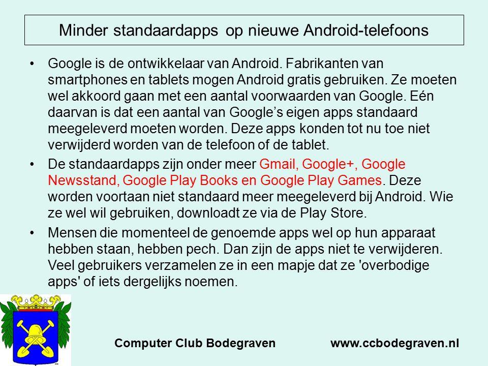 Minder standaardapps op nieuwe Android-telefoons Google is de ontwikkelaar van Android. Fabrikanten van smartphones en tablets mogen Android gratis ge