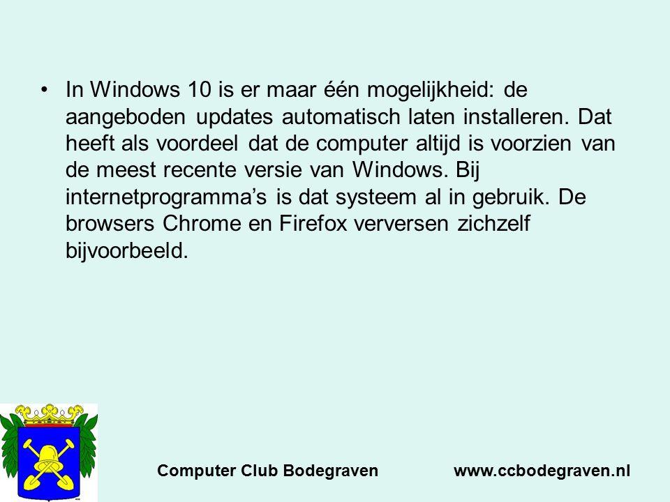 In Windows 10 is er maar één mogelijkheid: de aangeboden updates automatisch laten installeren. Dat heeft als voordeel dat de computer altijd is voorz