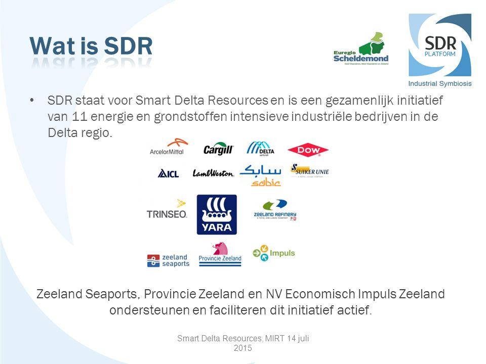 SDR staat voor Smart Delta Resources en is een gezamenlijk initiatief van 11 energie en grondstoffen intensieve industriële bedrijven in de Delta regio.
