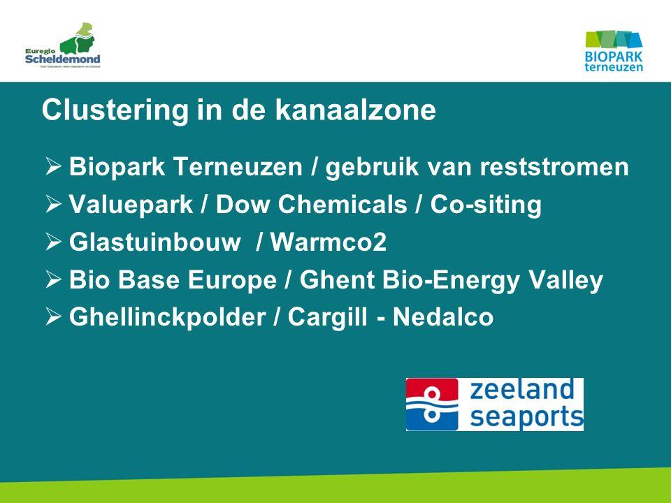 Clustering in de kanaalzone  Biopark Terneuzen / gebruik van reststromen  Valuepark / Dow Chemicals / Co-siting  Glastuinbouw / Warmco2  Bio Base Europe / Ghent Bio-Energy Valley  Ghellinckpolder / Cargill - Nedalco