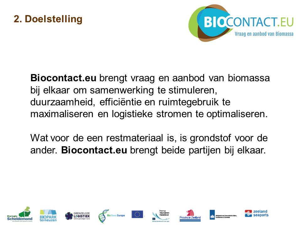 2. Doelstelling Biocontact.eu brengt vraag en aanbod van biomassa bij elkaar om samenwerking te stimuleren, duurzaamheid, efficiëntie en ruimtegebruik