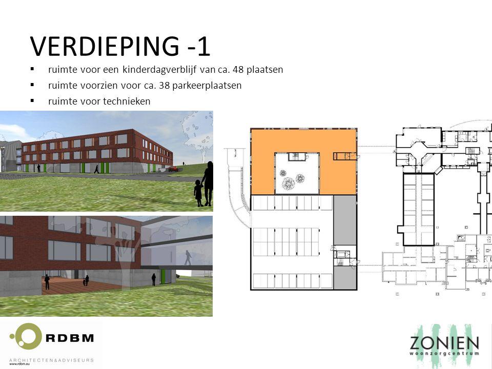  ruimte voor een kinderdagverblijf van ca. 48 plaatsen  ruimte voorzien voor ca. 38 parkeerplaatsen  ruimte voor technieken VERDIEPING -1