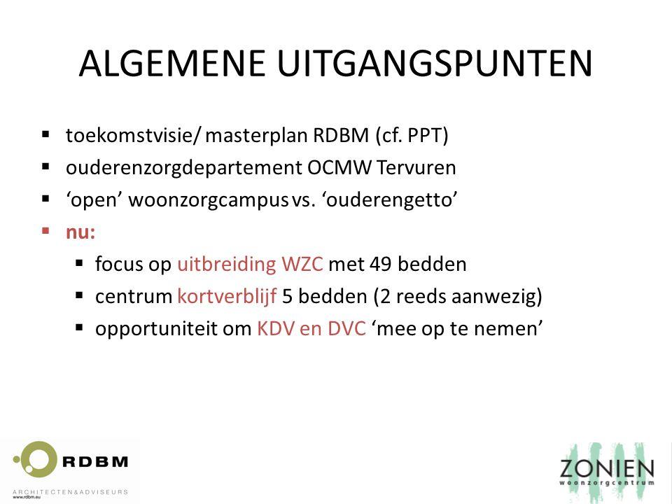 ALGEMENE UITGANGSPUNTEN  toekomstvisie/ masterplan RDBM (cf. PPT)  ouderenzorgdepartement OCMW Tervuren  'open' woonzorgcampus vs. 'ouderengetto' 