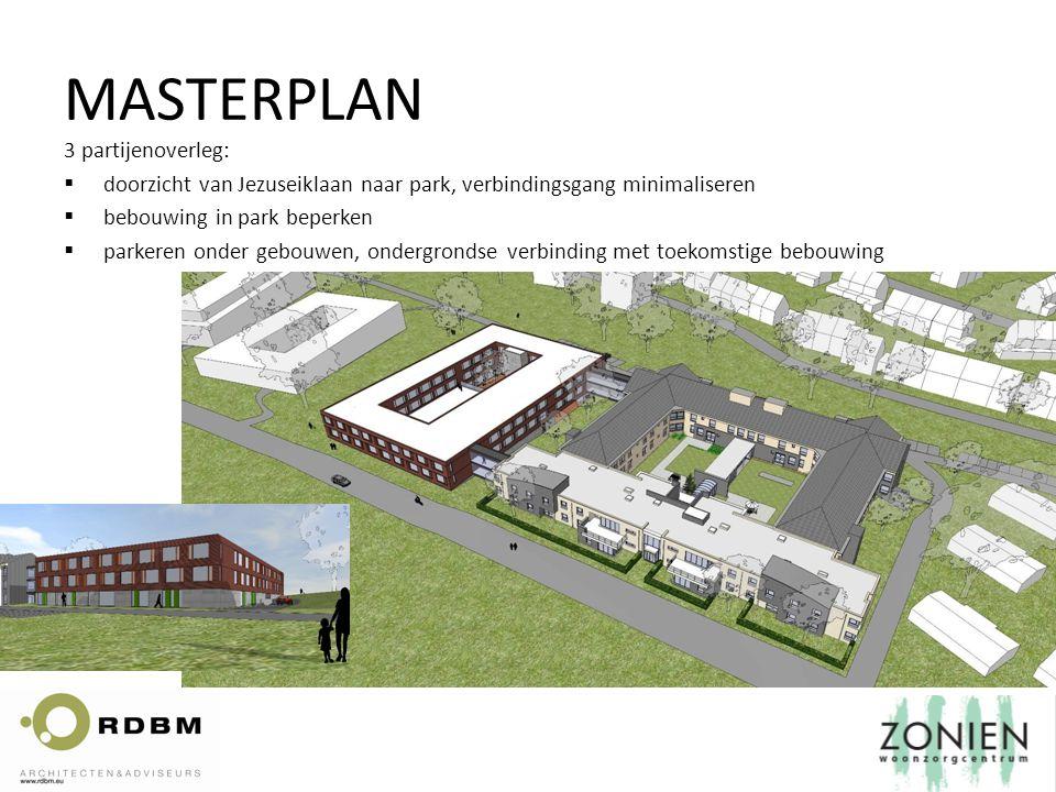 3 partijenoverleg:  doorzicht van Jezuseiklaan naar park, verbindingsgang minimaliseren  bebouwing in park beperken  parkeren onder gebouwen, ondergrondse verbinding met toekomstige bebouwing MASTERPLAN