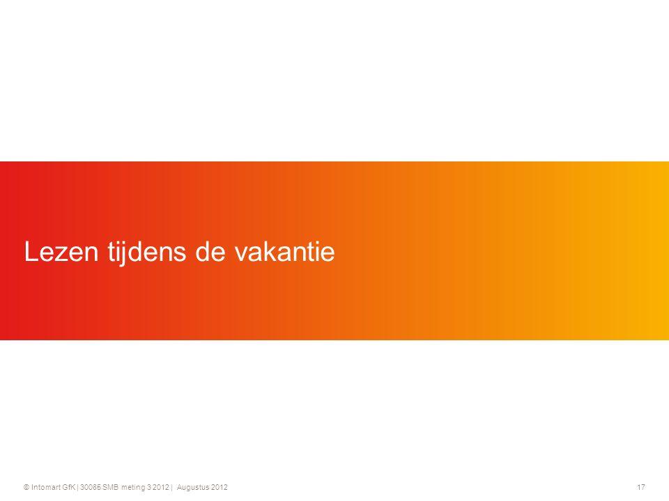 © Intomart GfK | 30085 SMB meting 3 2012 | Augustus 2012 17 Lezen tijdens de vakantie