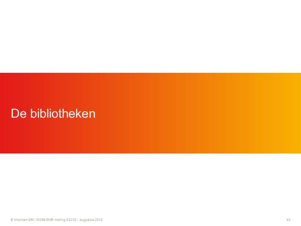© Intomart GfK | 30085 SMB meting 3 2012 | Augustus 2012 43 De bibliotheken