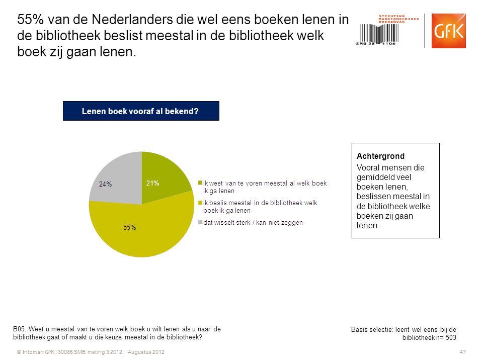 © Intomart GfK | 30085 SMB meting 3 2012 | Augustus 2012 47 55% van de Nederlanders die wel eens boeken lenen in de bibliotheek beslist meestal in de