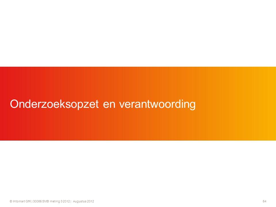© Intomart GfK | 30085 SMB meting 3 2012 | Augustus 2012 54 Onderzoeksopzet en verantwoording