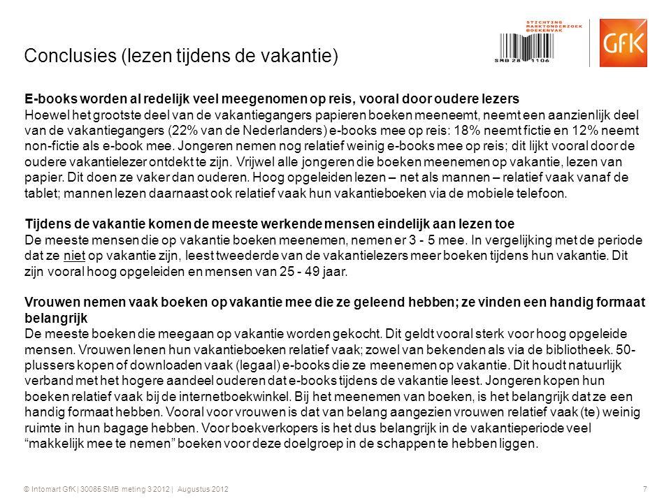 © Intomart GfK | 30085 SMB meting 3 2012 | Augustus 2012 7 Conclusies (lezen tijdens de vakantie) E-books worden al redelijk veel meegenomen op reis,