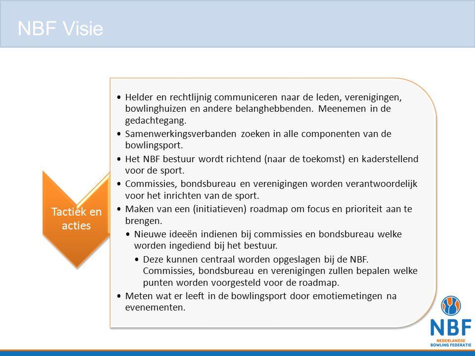 Tactiek en acties Helder en rechtlijnig communiceren naar de leden, verenigingen, bowlinghuizen en andere belanghebbenden. Meenemen in de gedachtegang