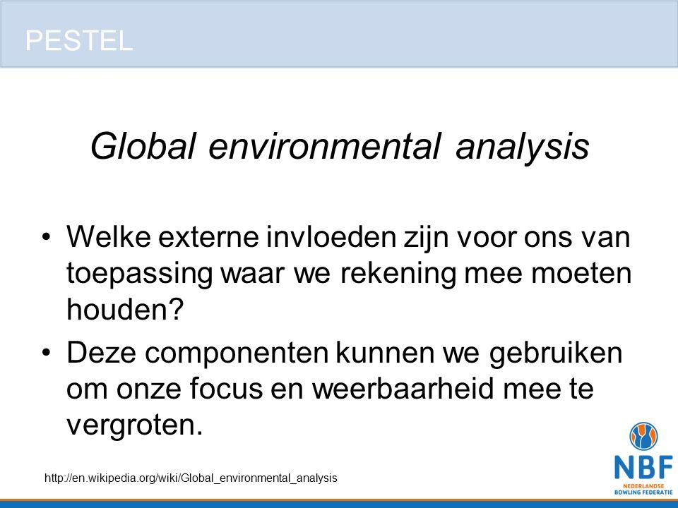 Global environmental analysis Welke externe invloeden zijn voor ons van toepassing waar we rekening mee moeten houden? Deze componenten kunnen we gebr