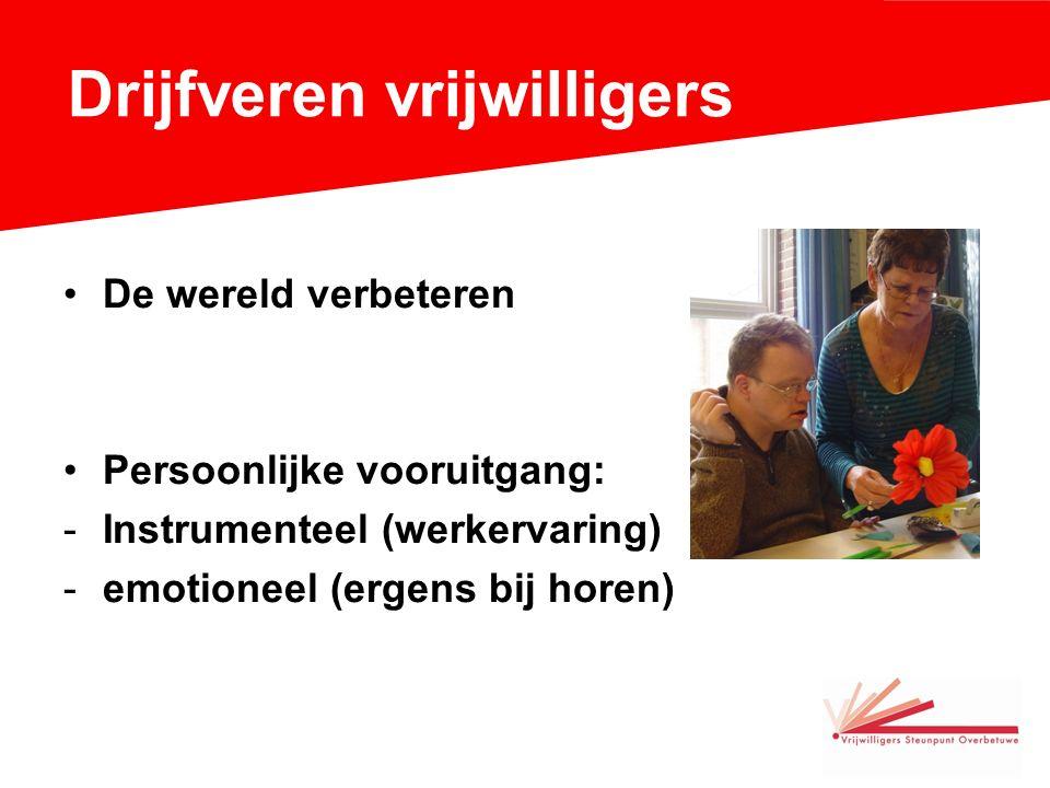 Drijfveren vrijwilligers De wereld verbeteren Persoonlijke vooruitgang: -Instrumenteel (werkervaring) -emotioneel (ergens bij horen)