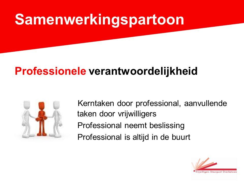 Samenwerkingspartoon Professionele verantwoordelijkheid Kerntaken door professional, aanvullende door vrijwilligers.