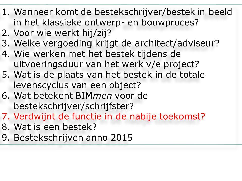 1.Wanneer komt de bestekschrijver/bestek in beeld in het klassieke ontwerp- en bouwproces? 2.Voor wie werkt hij/zij? 3.Welke vergoeding krijgt de arch