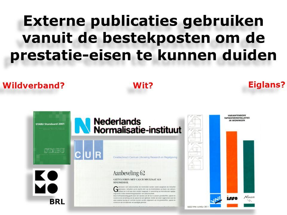 Externe publicaties gebruiken vanuit de bestekposten om de prestatie-eisen te kunnen duiden Externe publicaties gebruiken vanuit de bestekposten om de