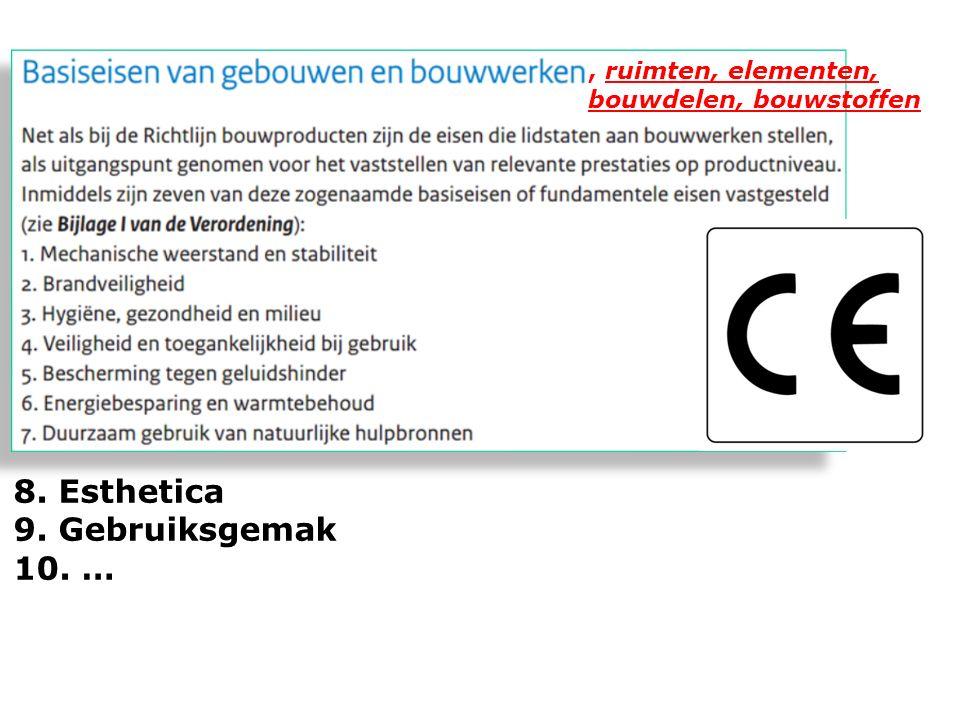 8. Esthetica 9. Gebruiksgemak 10. …, ruimten, elementen, bouwdelen, bouwstoffen