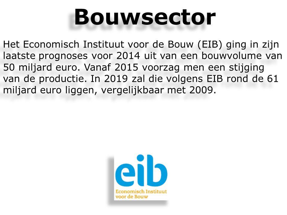 Het Economisch Instituut voor de Bouw (EIB) ging in zijn laatste prognoses voor 2014 uit van een bouwvolume van 50 miljard euro. Vanaf 2015 voorzag me