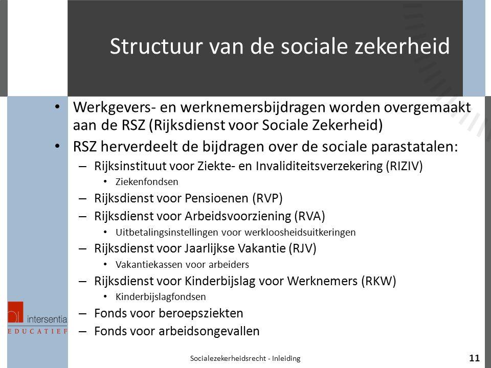 Structuur van de sociale zekerheid Werkgevers- en werknemersbijdragen worden overgemaakt aan de RSZ (Rijksdienst voor Sociale Zekerheid) RSZ herverdee