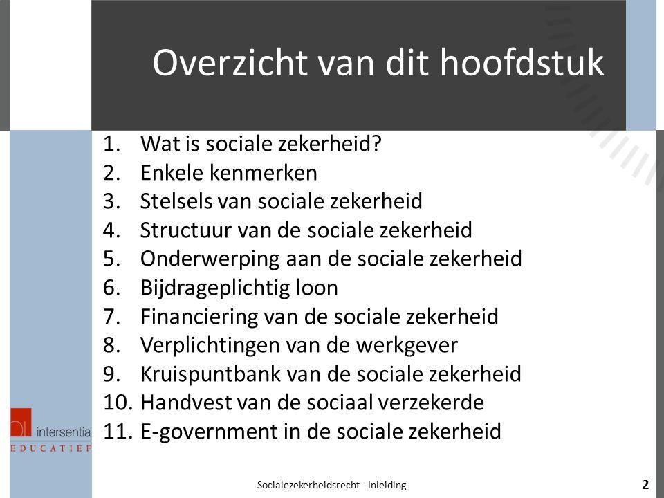 Overzicht van dit hoofdstuk 1.Wat is sociale zekerheid? 2.Enkele kenmerken 3.Stelsels van sociale zekerheid 4.Structuur van de sociale zekerheid 5.Ond