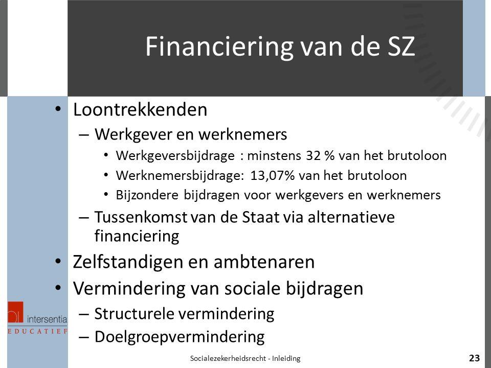 Financiering van de SZ Loontrekkenden – Werkgever en werknemers Werkgeversbijdrage : minstens 32 % van het brutoloon Werknemersbijdrage: 13,07% van he