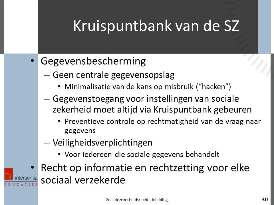 """Kruispuntbank van de SZ Gegevensbescherming – Geen centrale gegevensopslag Minimalisatie van de kans op misbruik (""""hacken"""") – Gegevenstoegang voor ins"""