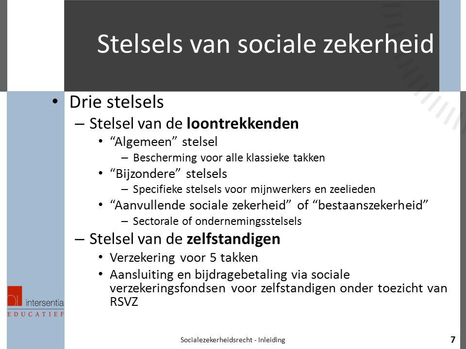 "Stelsels van sociale zekerheid Drie stelsels – Stelsel van de loontrekkenden ""Algemeen"" stelsel – Bescherming voor alle klassieke takken ""Bijzondere"""