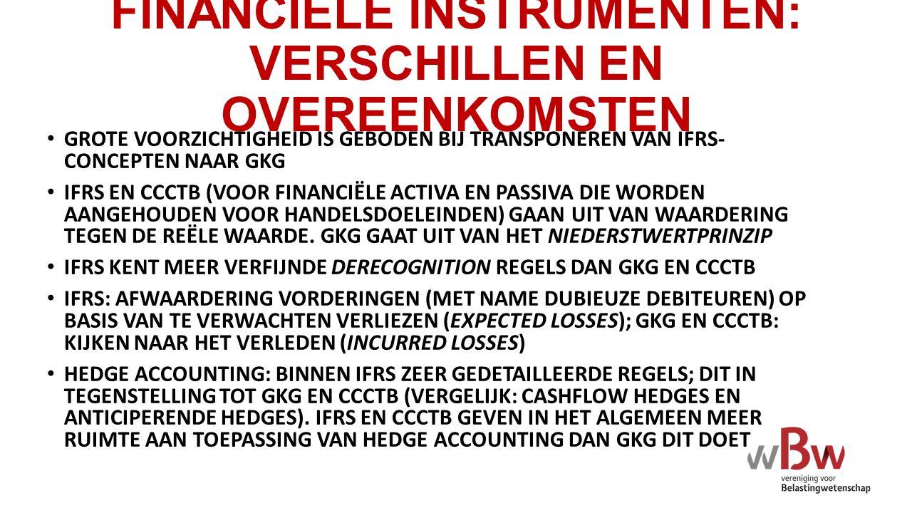 FINANCIËLE INSTRUMENTEN: VERSCHILLEN EN OVEREENKOMSTEN GROTE VOORZICHTIGHEID IS GEBODEN BIJ TRANSPONEREN VAN IFRS- CONCEPTEN NAAR GKG IFRS EN CCCTB (V