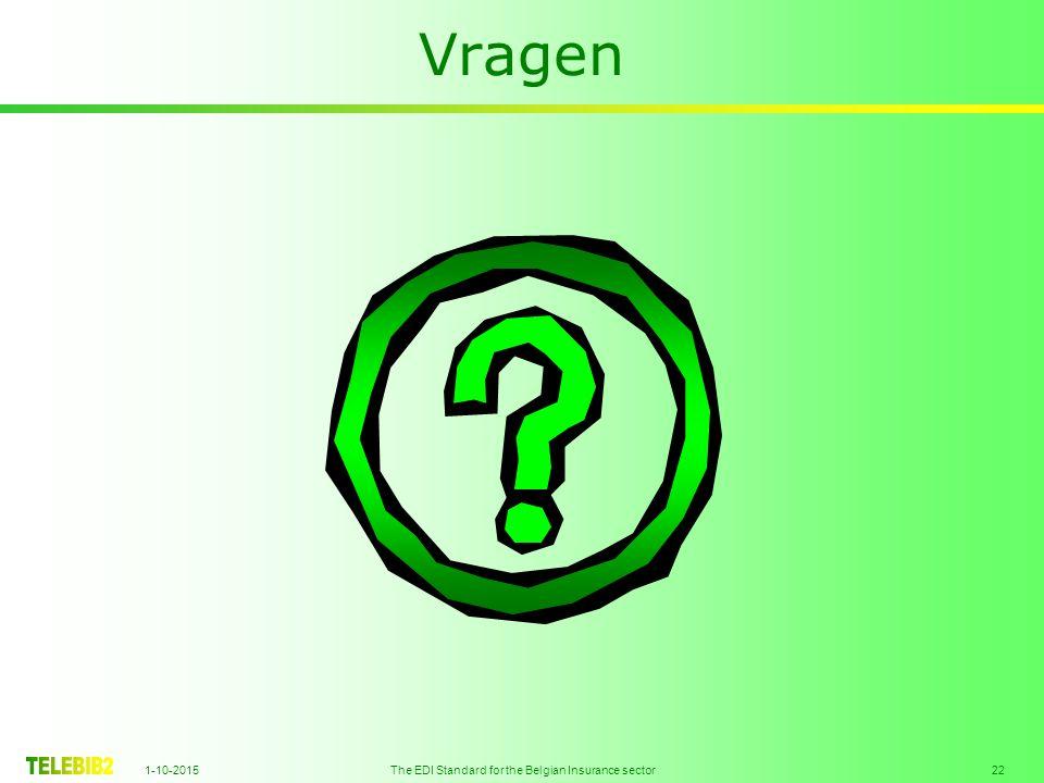 1-10-2015 The EDI Standard for the Belgian Insurance sector 22 Vragen