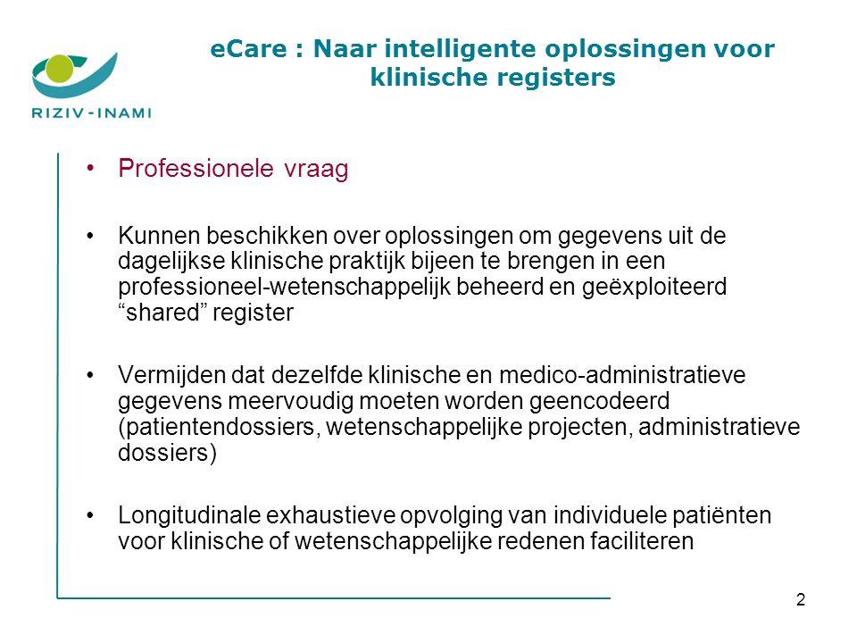 2 Professionele vraag Kunnen beschikken over oplossingen om gegevens uit de dagelijkse klinische praktijk bijeen te brengen in een professioneel-weten