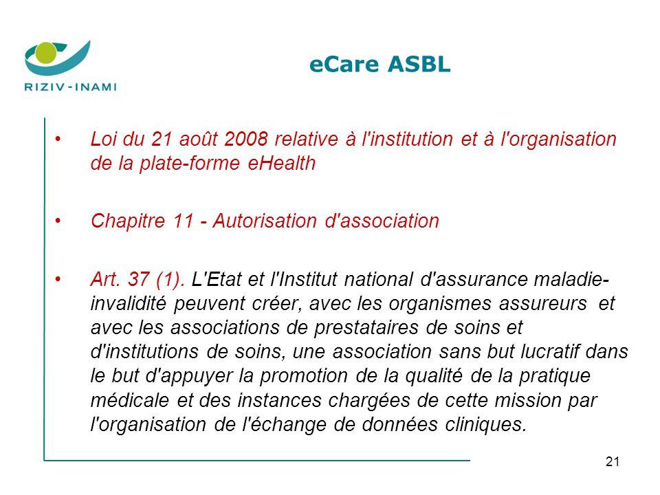 21 eCare ASBL Loi du 21 août 2008 relative à l institution et à l organisation de la plate-forme eHealth Chapitre 11 - Autorisation d association Art.